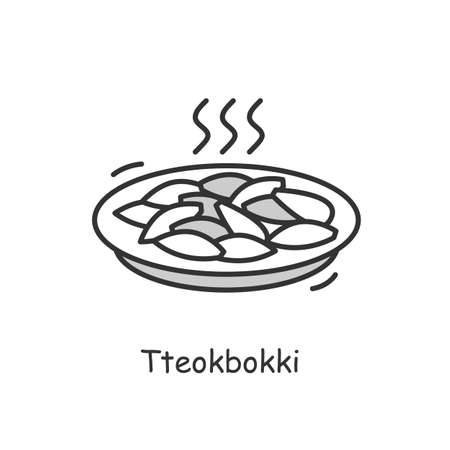 Tteokbokki icon.Spicy stir fried rice and salty fish cakes.Thin line vector illustration Vettoriali