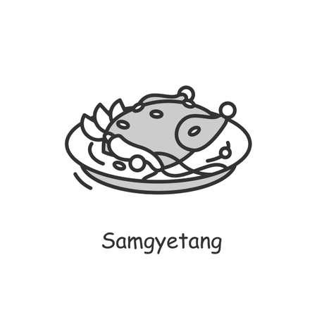 Samgyetang icon. Traditional korean dish.line vector illustration