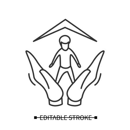 Child adoption icon. Boy in hands under protecting roof. Child custody vector linear illustration.