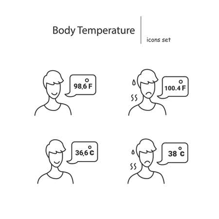 Body temperature icons set. Person reporting normal and high temperature simple vector illustration