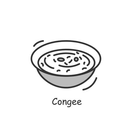 Congee icon. Traditional Chinese breakfast rice bowl simple vector illustration