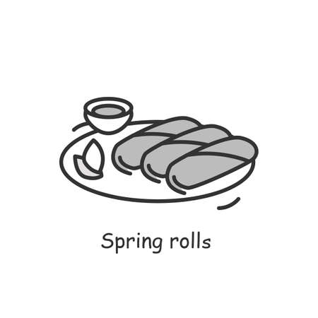 Spring rolls icon. Rice paper wrapped stuffed deep fried Asian snack simple vector illustration