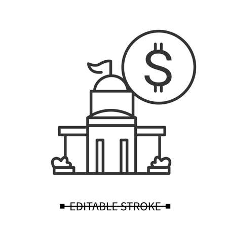 Public bank icon. Financial and economics institution simple vector illustration