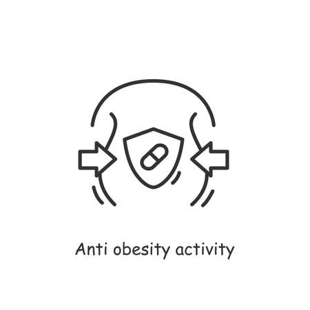 Activity probiotics of anti obesity icon.Linear sign for losing weight and fat burn concept