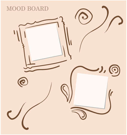 Elaborate calligraphic and floral motives light pink color mood board template 일러스트