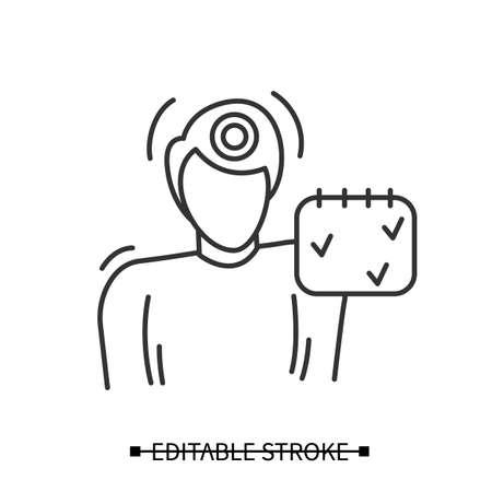 Headache icon, Man having episodic headache. Simple vector illustration.