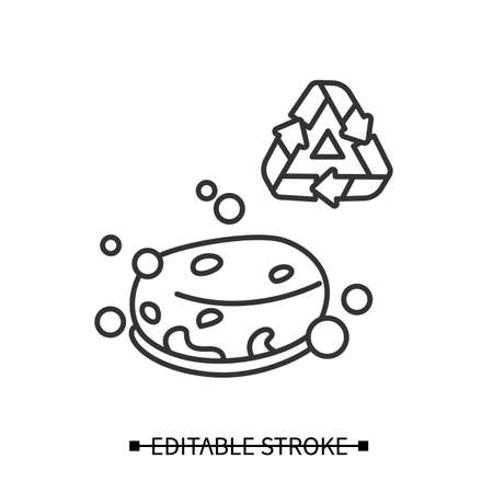 Eco sponge icon. Bubbly soap bar or organic loofah sponge simple vector illustration