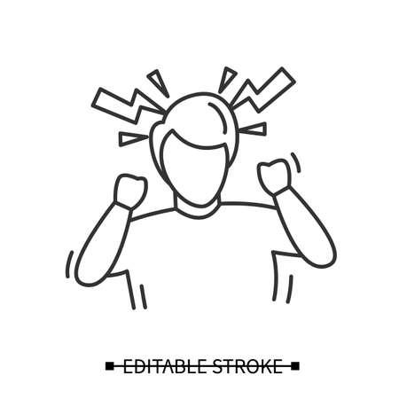 Headache icon. Male avatar suffering hypertension headache. Vector ilustration Illustration