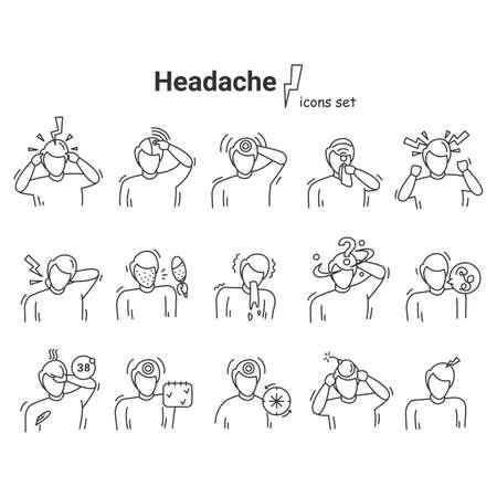 Headache icons set. Vector illustration of stroke, migraine and headache symptoms.