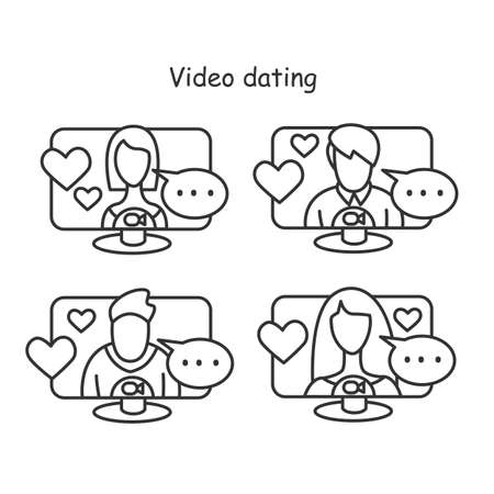 Video dating icons set. Men and women in video call . Internet romance vector illustrations.