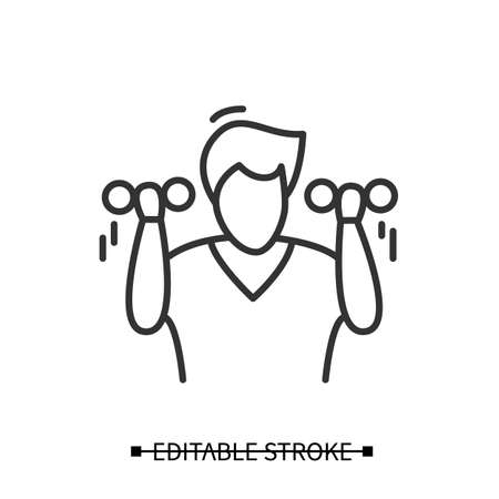 Exercise icon. Man avatar lifting dumb bells or bars. Concept linear pictogram for healthy lifestyle, fitness and best mind focus and self development practices. Editable stroke vector illustration.