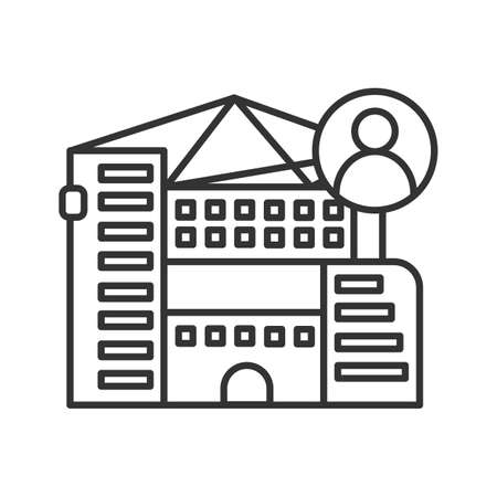 Apartment building icon. Fashionable city residential apartment house vector illustration.