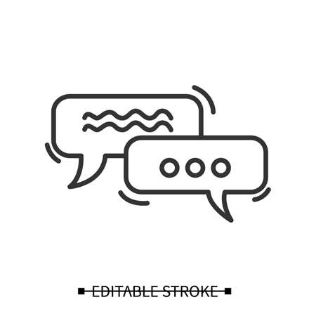 Dialog icon. Rectangular speech bubble pictograms wih text. Thin line vector illustration Stock fotó - 155403348