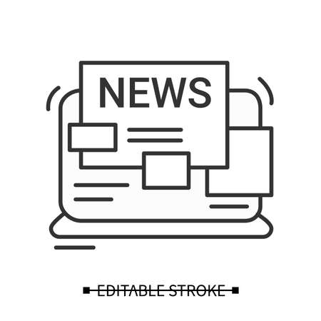 News icon. Laptop with newspaper article simple thin line vector illustration Vetores