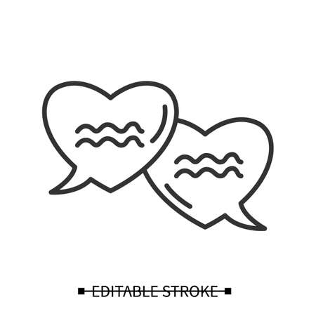 Love talk icon. Heart shaped speech bubble dialogue pictograms simple vector illustration