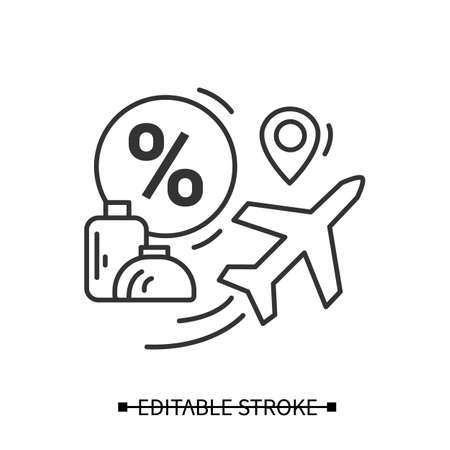 Flight discount icon. Luggage and plane, travel sale simple vector illustration Stock fotó - 155407938