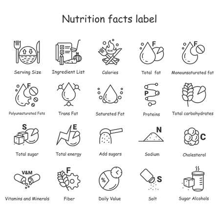 Nutrition facts line icons set.Nutrition supplements.Editable vector illustrations