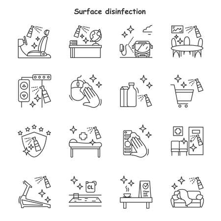 Surface disinfection line icons set. Sanitizing at home, office and more. Isolated vector illustrations.