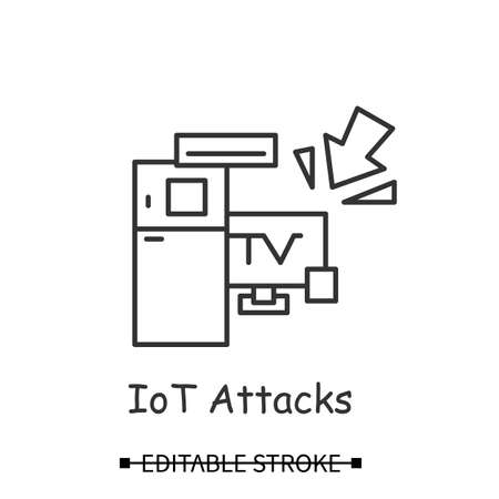Smart devices hacking icon. Smart technology devices attack simple vector illustration