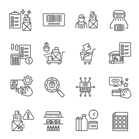 Inventory tracking management icons set.Storage control.Editable illustration