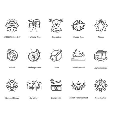 Indian culture line icons set. Editable
