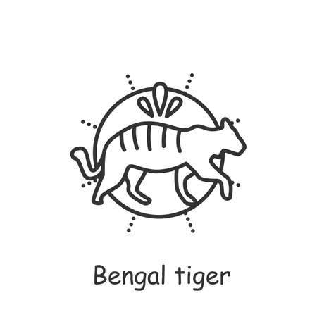 Bengal tiger line icon. Editable illustration