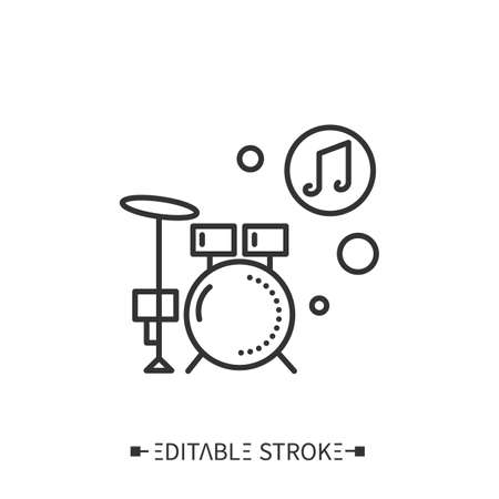 Drum kit line icon. Editable vector illustration