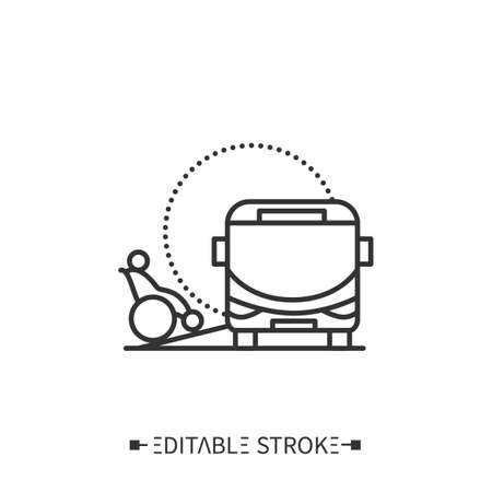 Bus ramp line icon. Editable illustration Illustration