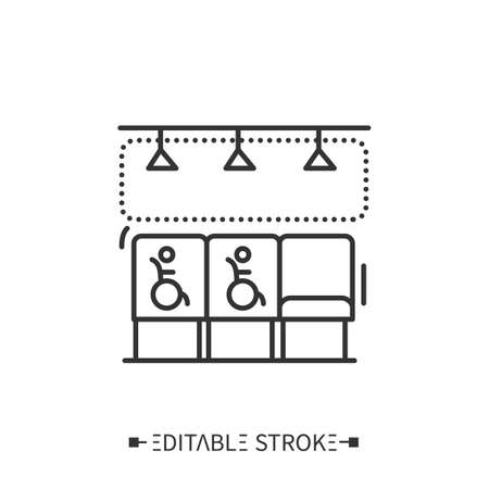 Accessible seating line icon. Editable Illustration