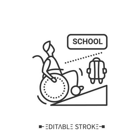 School entrance wheelchair ramp line icon