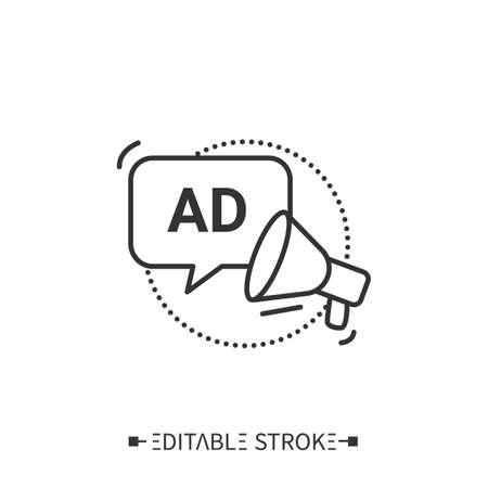 Audio description line icon. Editable