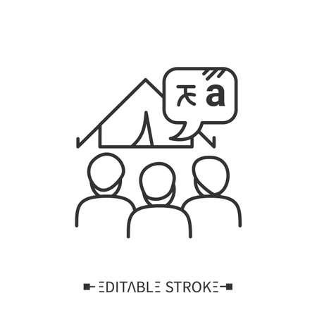 Language camps line icon. Editable illustration Vector Illustration