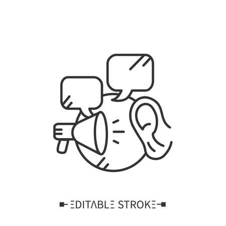 Listening line icon. Editable vector illustration