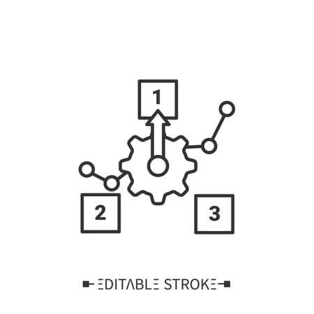 Production priorities line icon. Editable