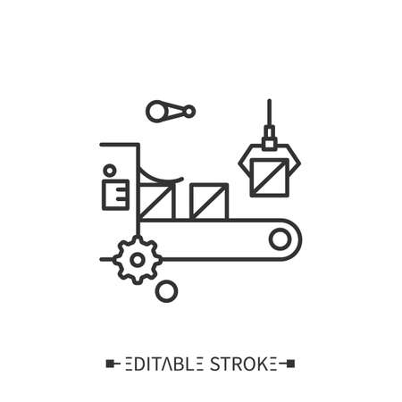 Production line icon. Editable illustration