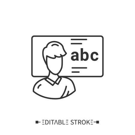 Language tutor line icon. Editable illustration