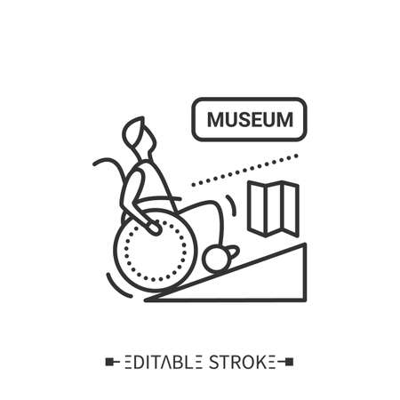 Museum entrance wheelchair ramp line icon.Editable