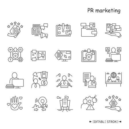 PR marketing line icons set. Brand images Ilustração