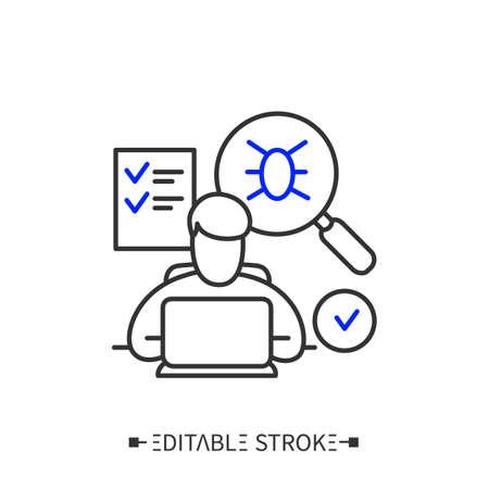 App testing line icon. Editable illustration