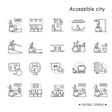 Assesible city line icons set. Editable