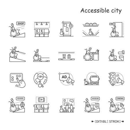 Assesible city line icons set. Editable Illustration