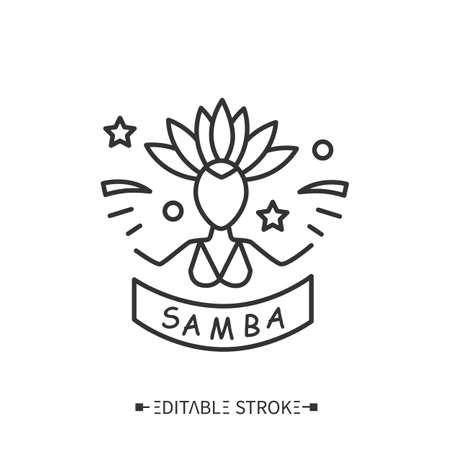 Samba school. Editable illustration Çizim