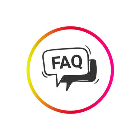 FAQ icon. Frequently asked questions. Help sign.