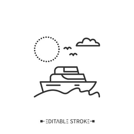Yachting line icon. Editable illustration