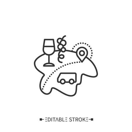 Enotourism line icon. Editable illustration