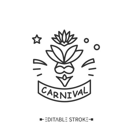 Carnival costume line icon. Editable illustration
