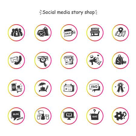 Social media store icons set Ilustracje wektorowe