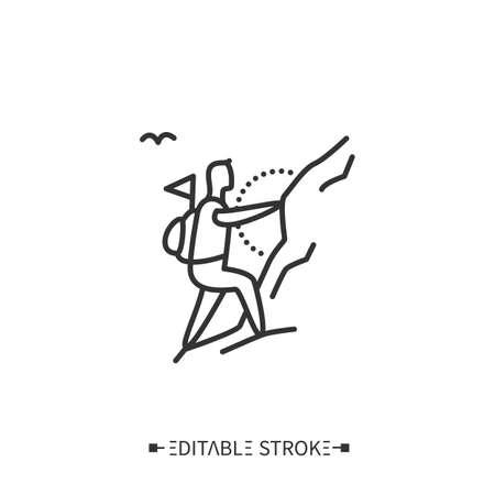 Mountaineering line icon. Editable illustration
