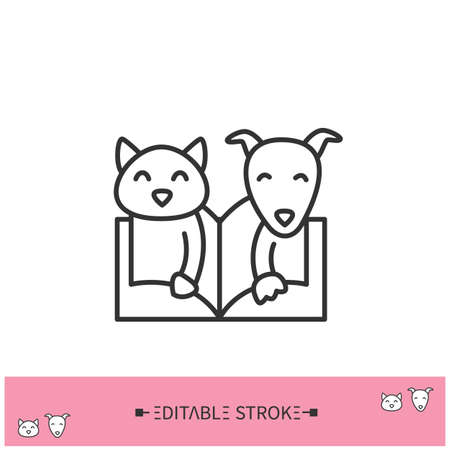 Animal book line icon. Editable illustration 向量圖像
