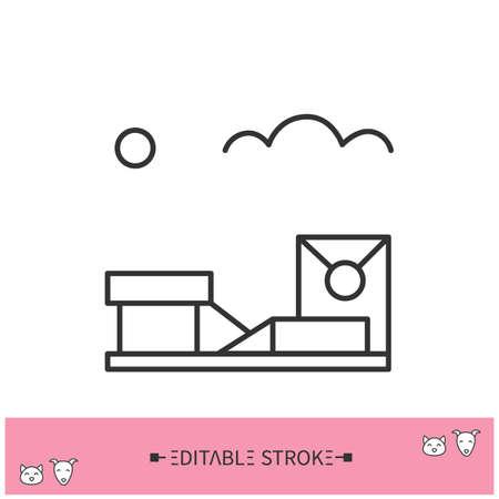 Dog walking area line icon. Editable illustration
